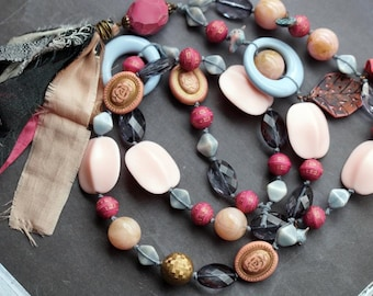 Pink and Grey Necklace - Bohemian Tassel Necklace - Polymer Clay Jewelry - Long Pink Necklace - Bead Soup Jewelry