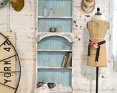 Painted Cottage Chic Shabby Aqua Handmade Bookcase / Display Cabinet