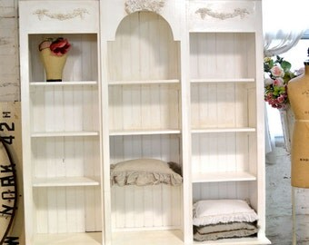 Painted Cottage Shabby White Farmhouse China Cabinet/ Bookcase