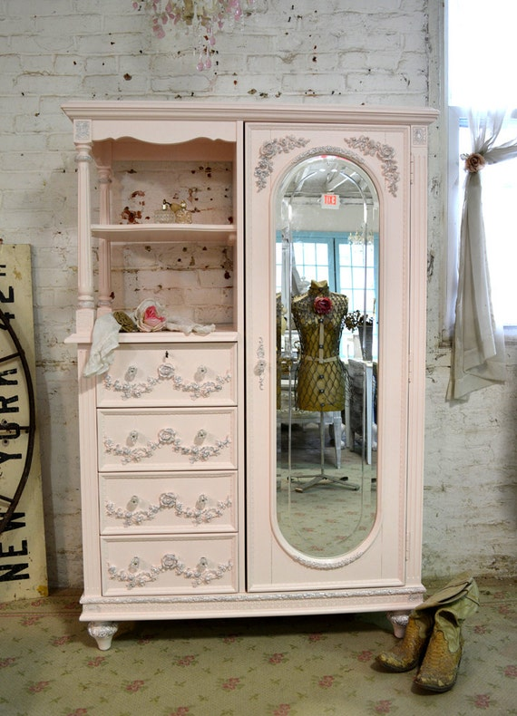 Painted Cottage Chic Shabby Pink French Armoire by paintedcottages