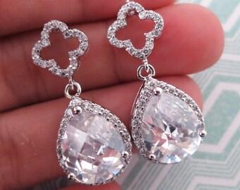 Rozia -  Luxe Cubic Zirconia Clover Ear Post, Cubic zirconia Teardrop Crystal, Silver Brides Bridesmaid Earrings, Wedding Bridal Earrings