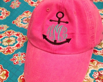 Ladies Monogrammed anchor baseball cap. Embroidered. Choose hat/thread color.Mom, Bride, summer, beach, nautical