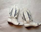 HOARDER's DELIGHT --To Be Light-- SALE. White Hot to Trot .Leather zig zaggy inlay cowboy boots harness & studs galore .Circle S womens sz 8