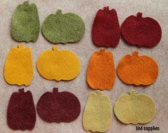 Autumn Harvest - Pumpkins - 24 Die Cut Wool Blend Felt Shapes