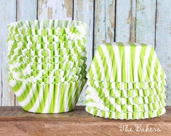 Lime Green Stripe Cupcake Liners, Lime Green Cupcake Liners, Christmas Cupcake Liners, Green Baking Cups, Green Cupcake Wrappers (50)