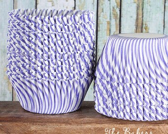 Purple Striped Cupcake Liners, Purple Cupcake Liners, Purple Baking Cups, Purple Cupcake Wrappers, Cupcake Cases, Muffin Cups (50)