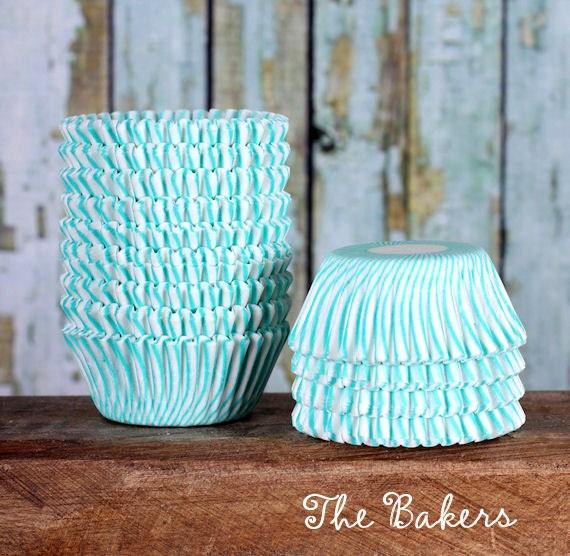 MINI Turquoise Striped Cupcake Liners, Mini Jade Green Candy Cups, Mini Wedding Candy Cups, Mini Treat Cups, Green Cake Pop Cups (100)
