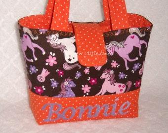 Personalize Cowgirl Sweet Pony Brown with a Splash of Orange Handbag