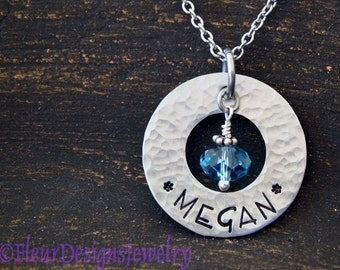 Name Necklace, Personalized Washer Necklace, Name Charm Necklace