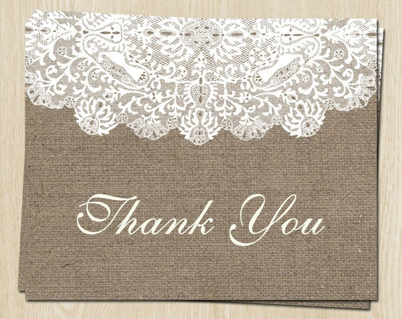 Burlap And Lace Bridal Shower Thank You Cards By TheInviteLadyShop