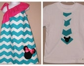 Disney Brother Sister Set - Girl Boy -Dress and Tie Shirt - Turquiose Chevron Zig Zag Pink -Perfect for Sping Summer Disney Trips