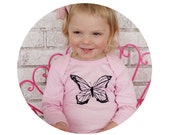 One Piece Baby Bodysuit, Butterfly Garden Long Sleeved Infant Bodysuit, Baby Girl Shower Gift, Butterflies Light Pink Spring and summer