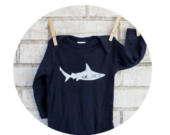 shark baby onepiece, Hand Printed Infant Bodysuit, Long Sleeved Cotton Romper, Navy Blue, Ocean Animal, Seaside Vacation, Aquarium, Nature