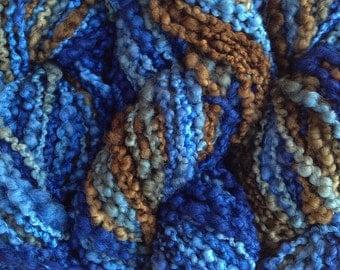 Handpainted Bumpy Wool Yarn in Indigo Cowboy Hand Dyed