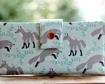 Handmade womens wallet all vegan foxes on pale blue