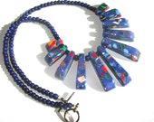 Dark Blue Mini Fan Cleopatra Necklace Women Fashion Jewelry Faux Turquoise Fan