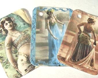 Mata Hari Tags - Set of 9 - Dancing Spy - Exotic Dancer - Gift Tags - Historical Dancer - Belly Dancing - Dance Tags - Beautiful Spy