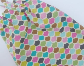 Fabric Grocery Bag Holder Turquoise Green Brown Pink Multi Modern
