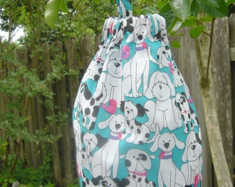Plastic Grocery Bag Holder Turquoise withBlack and White Dogs and Pupplies