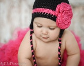 Crocheted Black with Hot Pink stripe and flower Earflap hat only