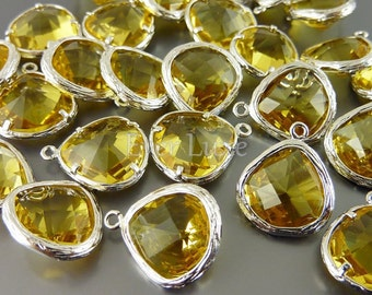 2 topaz yellow glass stone in textured silver bezel setting, colorful glass pendants, jewelry 5058R-TO (bright silver, topaz, 2 pieces)