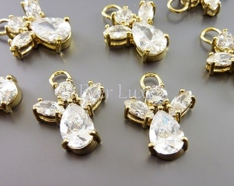 2 crystal guardian angel charms, made with cubic zirconia 1916-BG