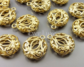 4 puffy round filigree charms / matte gold floral brass jewelry pendants / wholesale jewelry supplies 1485-MG (matte gold, 4 pieces