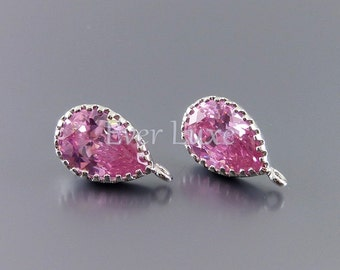 2 pink Inverted teardrop Cubic Zirconia CZ earrings, wedding / bridal jewelry supplies, cz jewelry 1914R-PK (bright silver, pink, 2 pieces)