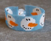 Snowman Face Bracelet Pattern - Peyote Pattern