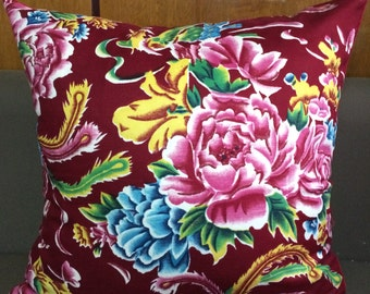 Peony pillow for homedeco,pattern of phoenix and butterfly around peony