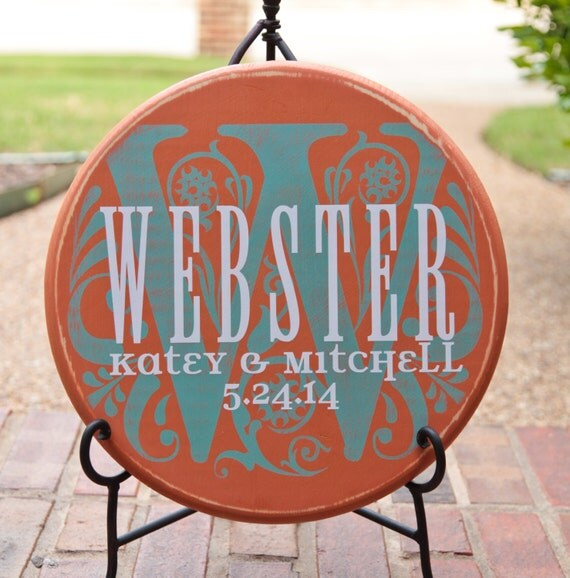 "15"" Round Personalized Established Family Name & Initial Sign  --  Waterstreet Couple Style"