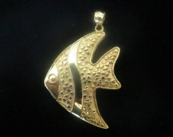 Gold plated sterling silver angel fish pendant