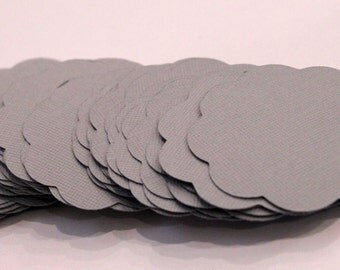 50 Scallop Tags Gray Textured Gift Tag 2.5 inch READY TO SHIP Scrapbooking Journaling Spots Topper Supply Thank you Card Stock Die Cut Label
