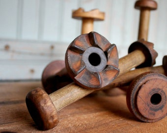 Small Vintage Wooden Bobbin Industrial Era Ratcheted Spools Organize Display Home Decor