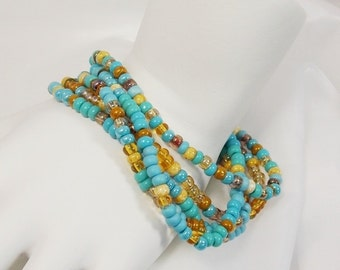 Turquoise Gold Stack Layer Bracelets Aqua Golden Seed Bead Bracelets Stretch Hippie Beads