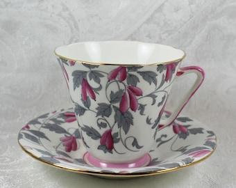 Royal Grafton Ashley Pink and Gray Floral English Bone China Teacup and Saucer