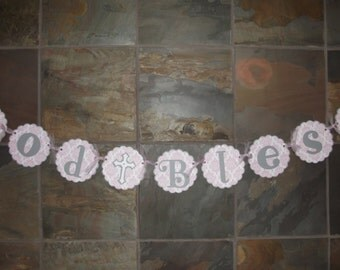 God Bless Banner Cross Die Cut Banner God Bless Damask Banner Pink Gray Banner - Christening Baptism Communion Party Sign Banner