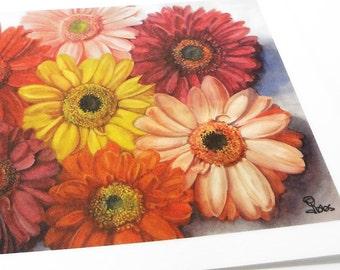 daisy watercolor print, daisies painting, 5x7 art print