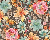 Elle, Quilting Treasures, Packed Floral in French Gray, yard