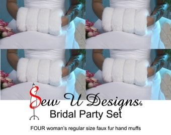Winter wedding Bridal party set FOUR regular size faux fur muffs Available in White, Ivory, Cream or Black grooved faux fur