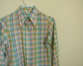 Vintage Girl's Pastel Plaid Linen Shirt - Size 12 or 14
