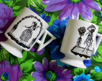 Set of Two Midcentury Mugs with 1920s Women Silhouettes