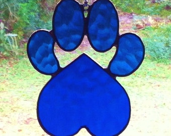 Textured Blue Stained Glass Dog Paw Pad with Heart Sun Catcher Great Gift for Dog Lovers!