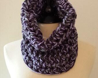 Cowl Neckwarmer Scarf in Mix Purple's - Handmade by Malasa