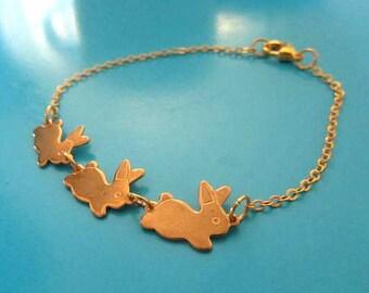 Three Gold bunnies bracelet
