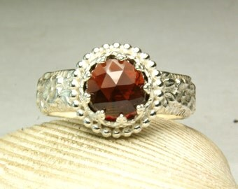 Cherry Red Garnet Ring, Sterling Silver, Faceted Gemstone, Cocktail Ring, Christmas Jewelry