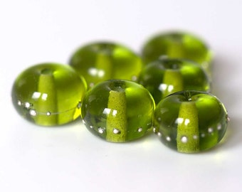 Green Lampwork Spacer Beads Set, Hand Made to Order