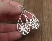 Sterling silver spider web teardrop pendant earrings, Halloween jewelry, Fall jewelry, spooky earrings, spider earrings, large earrings