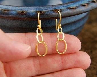 Tiny gold oval infinity earrings, long earrings, eternity, interlocking, entwined, gold earrings, linked ovals, bridal bridesmaid