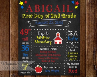 Printable Chalkboard First Day of School Sign- Extra Info - Primary Colors - Apple - Schoolhouse